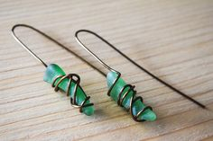 Antique brown wire wrapped genuine greek green sea glass, summer trend, boho earrings, statement earrings, beachwearing by Christinasfamily on Etsy Boho Earrings, Statement Earrings, Drop Earrings, Handmade Jewelry, Unique Jewelry, Handmade Gifts, Sea Glass Jewelry, Summer Trends, Summer Sale