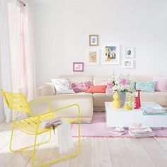 4. Mix #Colors… - 7 Cute Ways to Use Pastel #Interiors ... #Cushions