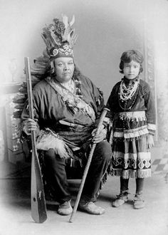 Iroquois Tribe: Portrait of Viroqua's Oldest Brother, Jesse Martin, and his Great Niece