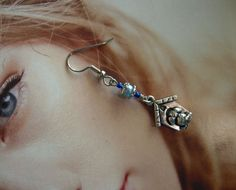 I'm In The Doghouse Now, Handcrafted Dangly Silver Tone Charms Blue Pearl Beads #MDHcrafts #Dangle