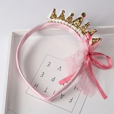 Novo 2016 Meninas Faixas de Cabelo Pérolas de Resina Diamante Laço de Fita Arco Crianças Coroa Da Princesa Acessórios de Cabelo Acessórios de Cabelo Banda