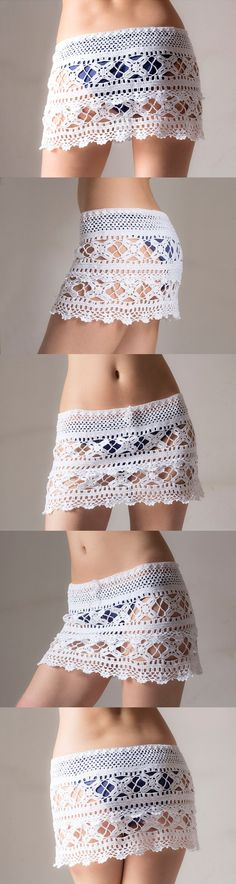 Crochet beach skirt lacy skirt PDF                              Could work for curtain panel!