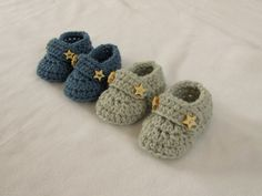 VERY EASY crochet baby boy booties / shoes / loafers / slippers tutorial ༺✿Teresa Restegui www.pinterest.com...