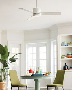 Envision this sleek ceiling fan in your home! Uses LED light. Variety of finishes & sizes. White Ceiling Fan, Colored Ceiling, Ceiling Fans, Flush Lighting, Cool Lighting, Kitchen Lighting, Bedroom Fan, Hugger Ceiling Fan, All Modern