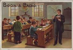 chromo cacao boon - scene with teacher holding book and pupils studying books | par patrick.marks