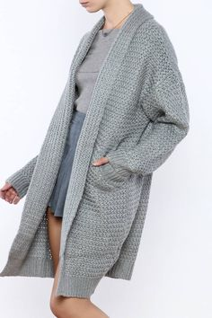Shawl collar cardigan with an open front andpockets.   Shawl Collar Cardigan by onetheland. Clothing - Sweaters - Cardigans Manhattan, New York City New York City