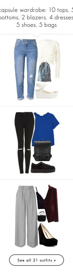 """""""capsule wardrobe: 10 tops, 5 bottoms, 2 blazers, 4 dresses, 5 shoes, 5 bags"""" by kyalumomo ❤ liked on Polyvore featuring adidas Originals, WithChic, MANGO, Topshop, Boohoo, Altuzarra, Nine West, A.P.C., Chicwish and Louise et Cie"""