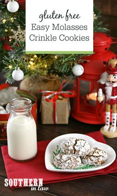 Perfect for Christmas Cookie Exchanges, this Gluten Free Molasses Crinkle Cookies Recipe is so easy – as well as lower in sugar, fat and a generally healthier family favorite! Keto Friendly Desserts, Low Carb Desserts, Keto Cookies, Healthy Cookies, Healthy Christmas Recipes, Winter Recipes, Healthy Recipes, Gluten Free Cookie Recipes, Baking Recipes