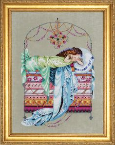 Sleeping Princess by Nora Corbett of Mirabilia, using Kreinik metallics.