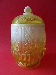 English Pressed Uranium Glass Biscuit Barrel Pearline c1890