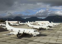 A flight line full of Lockheed P-3C Orions