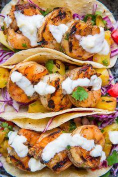 Jerk Shrimp Tacos with Pineapple Salsa, Slaw and Pina Colada Crema by closetcooking #Taco #Shrimp #Pineapple #Slaw #Healthy