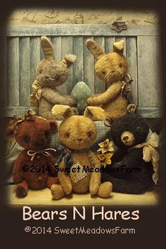 Bears N Hares Primitive Rabbit and Bear Doll Pattern - pinned by pin4etsy.com