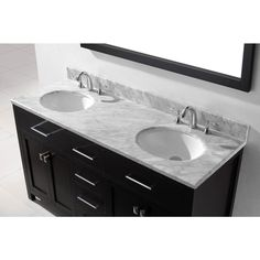 Virtu USA Caroline 60 inch Double Sink Bathroom Vanity Set in Espresso w/ Round Undermount Sink, Italian Carrara White Marble Countertop, No Faucet, 1 Mirror - Double Sink Vanity, Vanity Sink, Bath Vanities, Bathroom Vanity Makeover, Bathroom Vanity Cabinets, Spanish Style Bathrooms, Tuscan Bathroom, Marble Vanity Tops, Undermount Sink