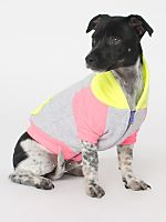 Dark Ash Neon Yellow Neon Pink Flex Fleece Color Block Dog Hoodie