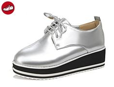 Aisun Damen Rund Hoch Plateau Sneakers Sportschuhe Silber 40 EU q7B9ddB