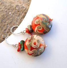 Lampwork Earrings Handmade Glass Beaded Jewelry by CandanImrak