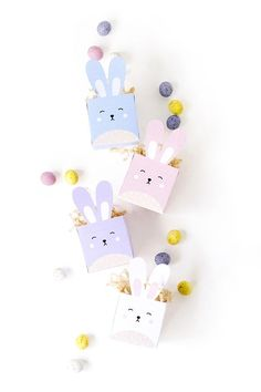 Delight your kids and friends with these DIY printable easter bunny treat boxes!
