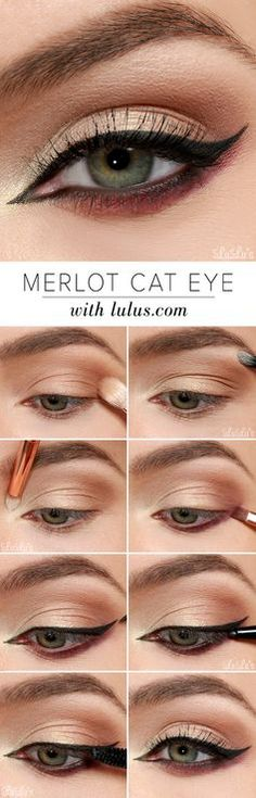 We love this amazing step-by-step eye makeup tutorial on a deep and gorgeous Merlot Cat Eye.