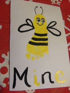 Bee Mine Valentine with foot print for VDay!
