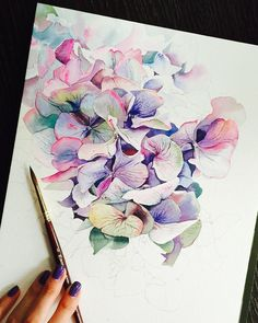 """9,760 Likes, 101 Comments - Julia Barminova  WATERCOLOR (@juliabarminova) on Instagram: """"With every new painted flower I feel not in autumn Russia but in summer Provence...…"""""""