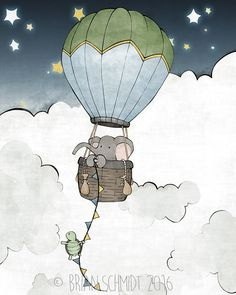Elephant Nursery Print  Hot Air Balloon by LowerWoodlandStudio