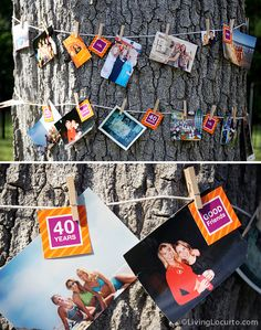 Love this idea of hanging photos around a tree trunk | Living Locurto - Free Party Printables, Crafts & Recipes