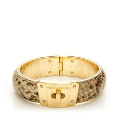 LOCKED UP LEATHER HINGED BANGLE by Henri Bendel LOVE LOVE