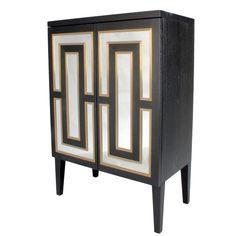 Henryk Tall Mirrored Cabinet  Art Deco, Metal, Mirror, Wood, Cabinet by Birgit Israel