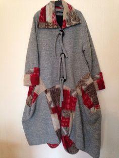 Sarah Santos Boiled Wool Italian Silver Grey Parachute Coat - SMALL