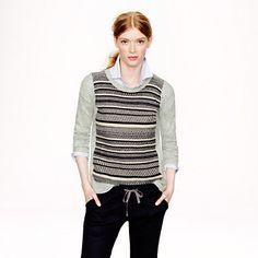 Textured-stripe sweater in grey - Pullover - Women's sweaters - J.Crew, medium