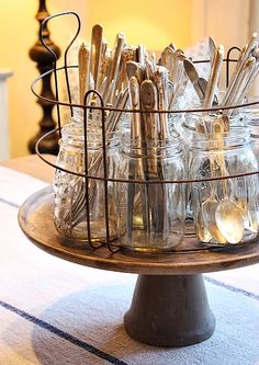 i have the French basket and lazy Susan. Have a Lazy Susan on the table already with silverware or kitchen spice jars ! Kitchen Organization, Kitchen Storage, Organization Ideas, Silverware Storage, Utensil Storage, Storage Ideas, Silverware Holder, Utensil Holder, Craft Storage