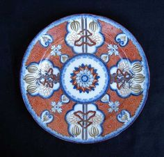 English sgraffito and  Imari decorated plate