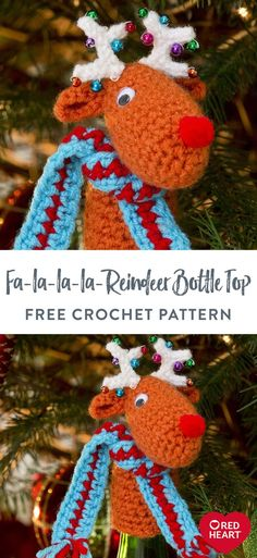Fa-la-la-la-Reindeer Bottle Top free crochet pattern in Red Heart Super Saver yarn. Cap off your bottle of Christmas Cheer with this laughable reindeer bottle topper. Purchased trims create his eyes and nose and colorful beads adorn his antlers for the happiest reindeer around! Easy Crochet Patterns, Knitting Patterns Free, Free Knitting, Free Crochet, Christmas Knitting, Crochet Christmas, Super Saver, Bottle Top, Red Heart Yarn