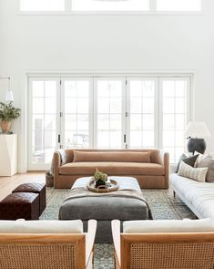When we designed the layout of our home, we wanted to be able to open the back wall of the living room for indoor/outdoor living in the… Living Room Sofa, Home Living Room, Living Room Designs, Living Room Decor, Living Spaces, Living Room Ottoman Ideas, Room And Board Living Room, Inspiration Design, Living Room Inspiration