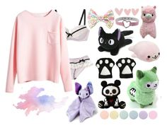 """Cuddles with Daddy... something at midnight?"" by daddys-little-kittenn ❤ liked on Polyvore featuring Gund, Hot Topic, CO, INC International Concepts and Deborah Lippmann"