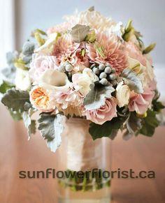 vintage garden soft colored bridal bouquet   ( pink , peach ) #wedding #vintage #bouquet #garden #bride
