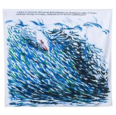 """We got this amazing beach towel at Art Basel Miami and can't wait to show it off in Montauk. The oversized towel by Raymond Pettibon for Art Production Fund features a painting by the artist and the text """"Later he could be seen in the beach parking lot, behind his van, a towel wrapped around his middle, changing out of his wet summer suit."""""""