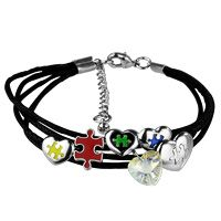 Puzzle Pieces & Hearts Charm Bracelet at The Autism Site