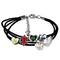 Puzzle Pieces & Hearts Charm Bracelet at The Autism Site