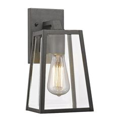 Cast a warm light over your patio dining table or front stoop with this lovely wall sconce, showcasing a geometric design and clear glass.