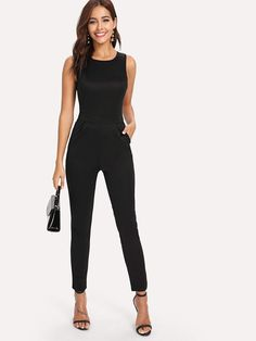 e2f41ebcd9d Split Back Solid Jumpsuit. Pusshe. Womens Fashion For ...
