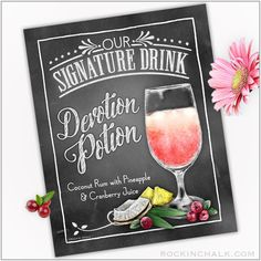 SIGNATURE DRINK SIGN Party or Bar Decoration for Homes, Establishments, Weddings and Events 8″x10″ Instant Download Printable File