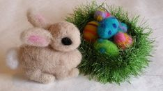 Tan Needle Felted Easter Bunny & Eggs in by BondurantMountainArt