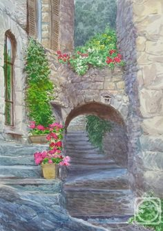 28 Цветущий дворик в Эзе (422x600, 185Kb)