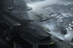 """Science Fiction World — """"Interplanetary Spaceport"""" by Jonathan Blessin. Futuristic Art, Futuristic Technology, Concept Ships, Concept Art, Cyberpunk, St Just, Sci Fi City, Sci Fi Spaceships, Sci Fi Environment"""