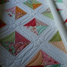 Take a look at the beautiful ruler work on this quilt by Joy and her Millie. Quilting Stitch Patterns, Machine Quilting Patterns, Quilt Stitching, Quilting Tutorials, Quilt Patterns, Quilting Ideas, Modern Quilting, Block Patterns, Quilting Stencils