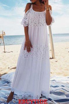 Crochet Dress Boho Bohemia 38 New Ideas Backless Maxi Dresses, Maxi Robes, Casual Dresses, Fashion Dresses, Summer Dresses, Women's Fashion, Dresses Dresses, Wedding Dresses, Beach Wear Dresses