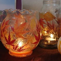 I LOVE these! Once the leaves turn, grab the prettiest ones and make these Fallen Lead Lanterns! | AllFreeKidsCrafts.com