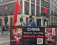 John - Notodogmeat founder member & owner of a sanctuary for rescued meat trade dogs - raises awareness about the plight of the dogs suffering in China's Yulin Festival outside London's Chinese Embassy